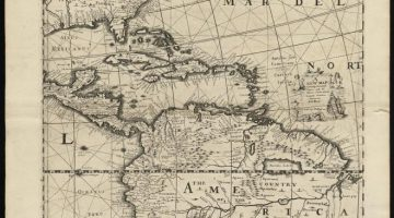 """Old map containing the """"English Empire, Golf of Mexico, Caribes Islands, Granada, Guiana, Amazone and Peru"""""""