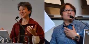Side-by-side image of Professor Hon Ming Yip and Professor Poshek Fu talking into microphones during a conference