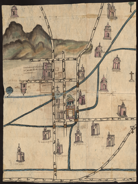 Spanish colonial map of Culhuacán, now in present-day Mexico City, 1588 (Benson Latin American Collection at the University of Texas at Austin)