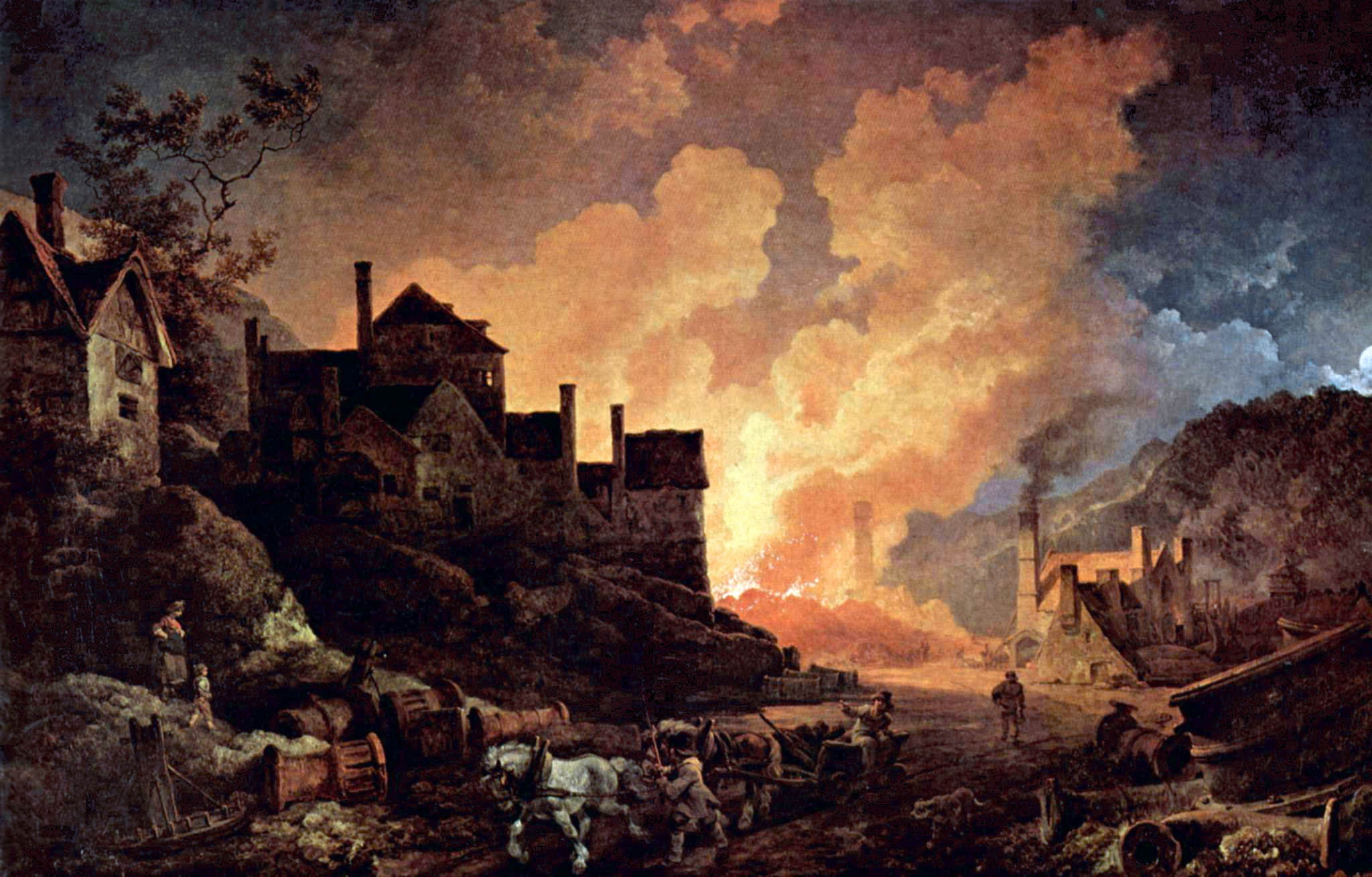 "Philip James de Loutherbourg's ""Coalbrookdale by Night,"" which depicts the Madeley Wood Furnaces of Coalbrookdale (Science Museum, London)"