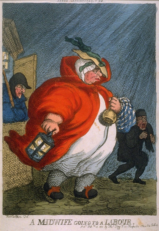 1811 Thomas Rowlandson cartoon lampooning England's male midwives (Bibliothèque Nationale, Paris, France)