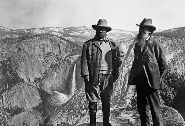 Teddy Roosevelt and naturalist John Muir pose at Yosemite National Park, 1906 (Library of Congress)