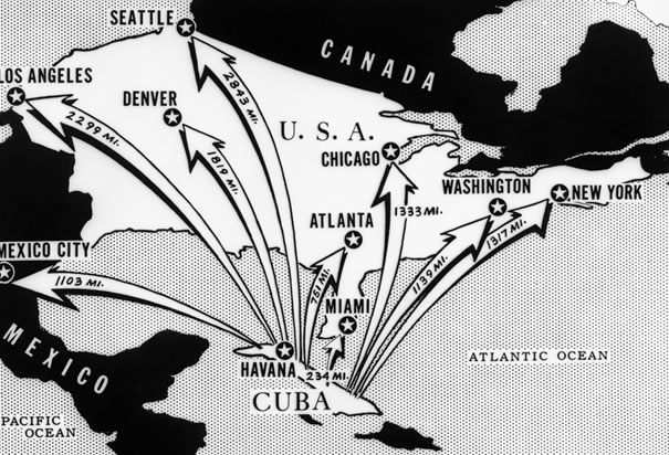 """Danger off our shores: This newspaper map shows the distances from Cuba to various cities on the North American continent."" - (Bettmann/CORBIS, TIME Magazine)"