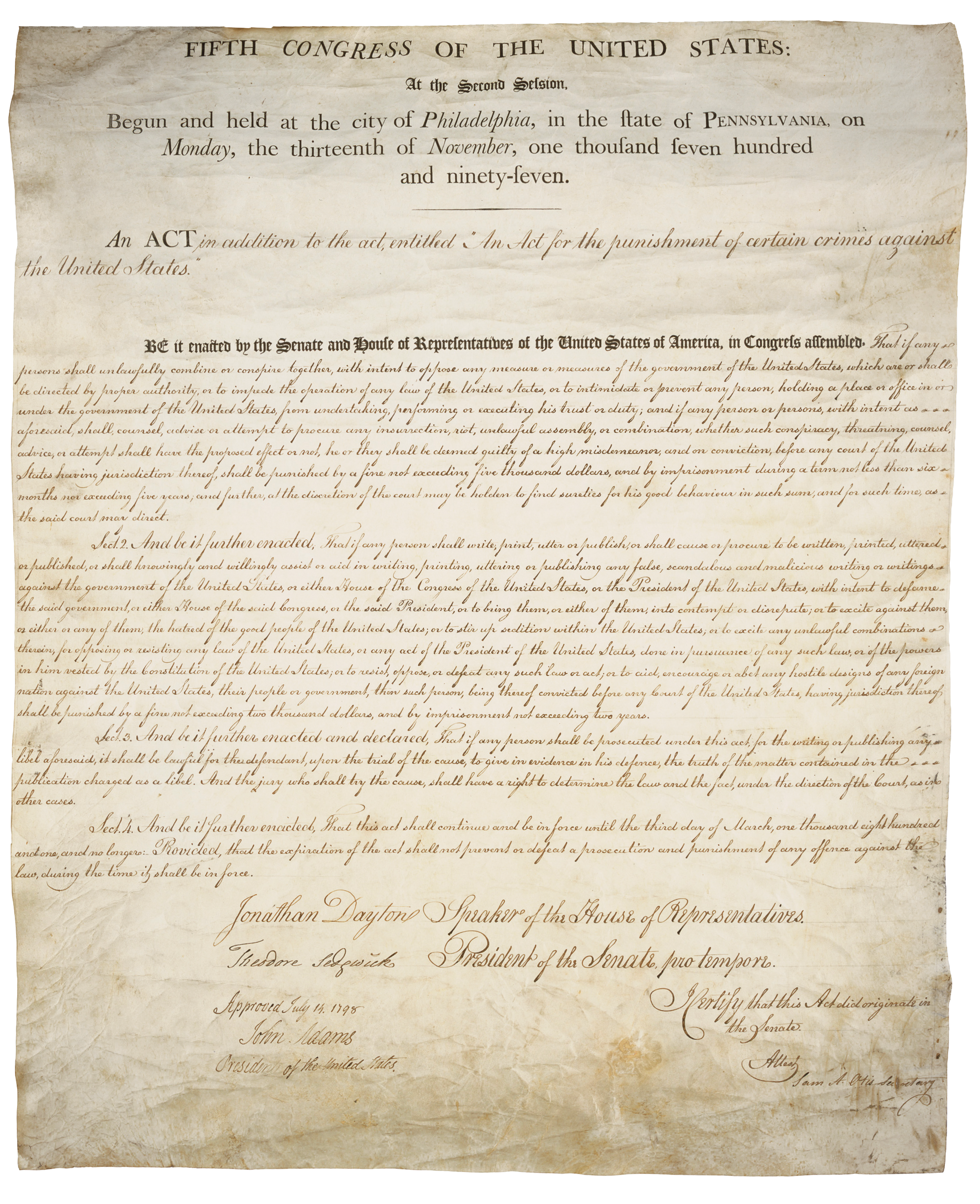 The Alien and Sedition Acts of 1798: Balancing Rights and ...