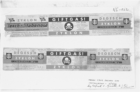 Labels taken from canisters of Zyklon B from the Dachau gas chambers (USHMM, courtesy of National Archives)