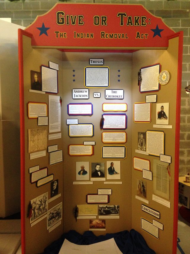 Kensey's Texas History Day exhibit on the Indian Removal Act