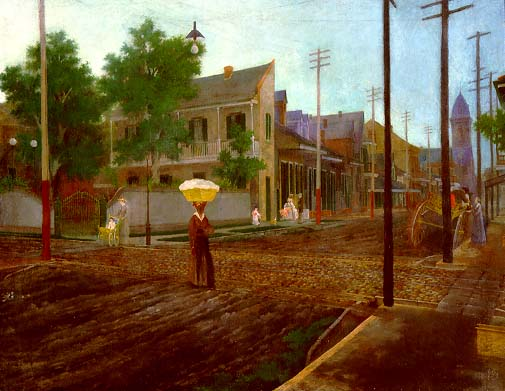 "Paul Poincy's ""St. Claude and Dumaine Streets, Faubourg Tremé,"" 1895 (Louisiana State Museum)"