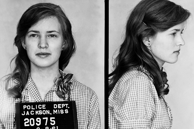 Mulholland's mugshot after her arrest. (Etheridge, Eric. Breach of Peace: Portraits of the 1961 Mississippi Freedom Riders. Atlas & Co., 2008)