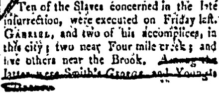 Account of Gabriel's execution from the Virginia Argus, Oct. 14, 1800 (