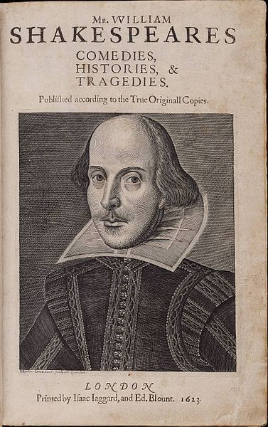 Title page of the First Folio, by William Shakespeare, with copper engraving of the author by Martin Droeshout. Image courtesy of the Elizabethan Club and the Beinecke Rare Book & Manuscript Library, Yale University.