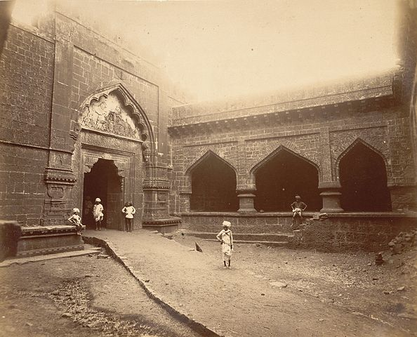 Teen darwaza gate, Panhala, Maharashtra, India, 1894