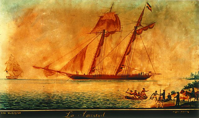 Contemporary painting of the Amistad ship, 1839 (Via Wikiemedia Commons)