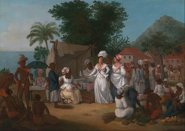 A Linen Market with a Linen-stall and Vegetable Seller in the West Indies by Agostino Brunias, circa 1780. Via Wikimedia Commons.