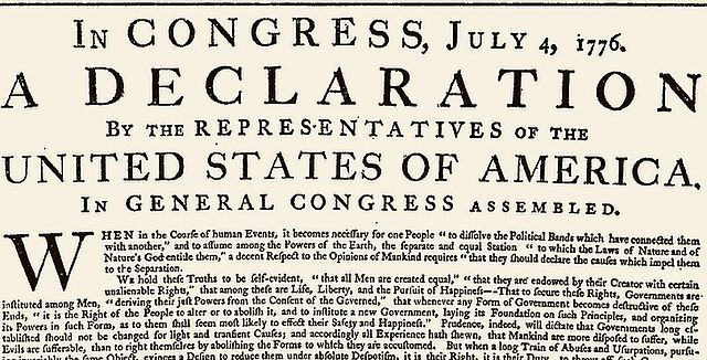 United States Declaration of Independence, 1776