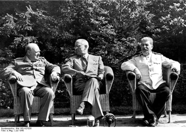 Churchill, Truman, and Stalin at the Potsdam Conference, 1945. Via Wikimedia Commons.