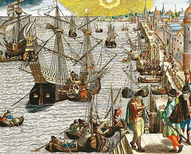 Departure from Lisbon for Brazil, the East Indies and America, engraving from c.1592 by Theodor de Bry (Flemish, 1528-1598), illustration in America Tertia Pars. Location- Service Historique de la Marine, Vincennes. (Via Wikimedia Commons)