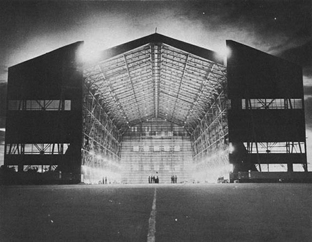 LTA Steel Hangar, Built by the 80th Seabees, at Carlson Field, Trinidad. Via WIkimedia Commons.