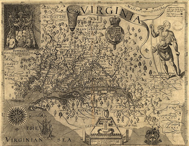 Map of Virginia, discovered and as described by Captain John Smith, 1606; engraved by William Hole.