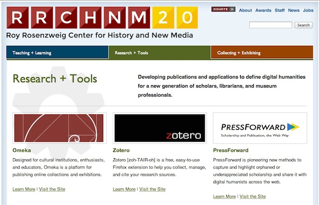 Screen shot Roy Rosenzweig Center for History and New Media