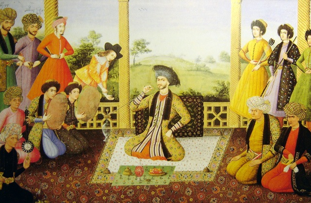 Shah Suleiman I and his courtiers, Isfahan, 1670. Painter is Aliquli Jabbadar.