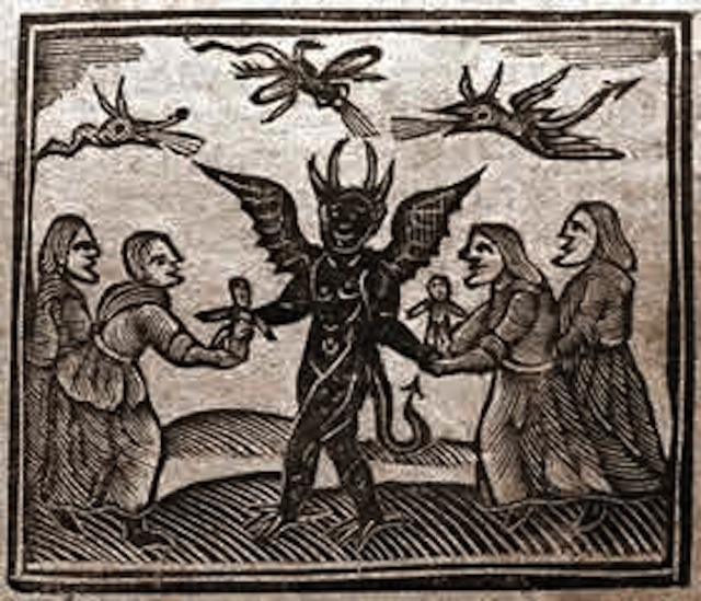 Depiction of the Devil giving magic puppets to witches, from Agnes Sampson trial, 1591. Image via Wikimedia Commons.