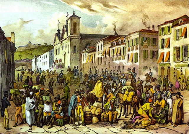 Rue Droite in Rio by German painter Johann Moritz Rugendas, cerca 1830.