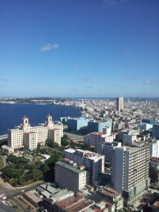 The skyline of Havana has scarcely changed since 1959.  The building below left is the Hotel Nacional, built in the 1920s.  Photo by Reggie Wallesen.