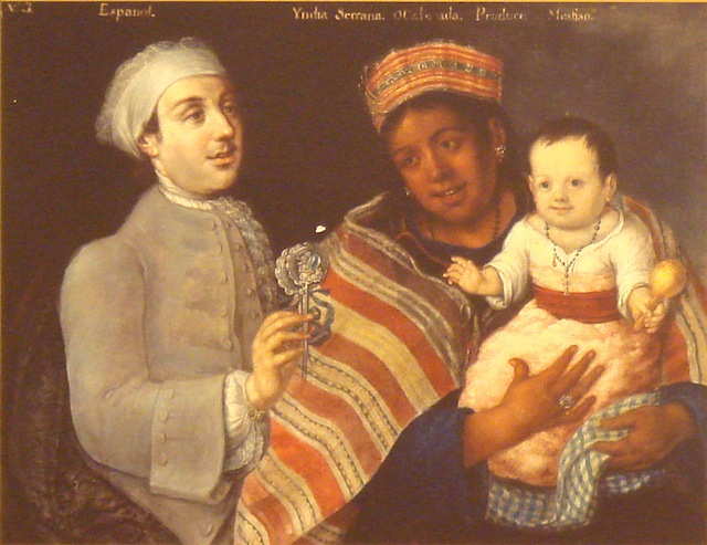 A painting of a Spanish man and a Peruvian indigenous woman with Mestizo child, 1770