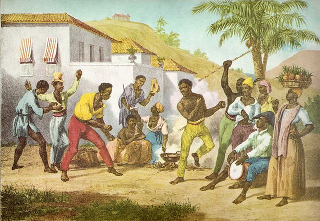 Capoeira or the Dance of War by Johann Moritz Rugendas (1825). The Brazilian dance of Capoeria is often associated with the Palmares quilombo. Via Wikimedia Commons.