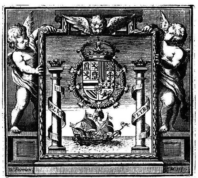Emblem of the Council of the Indies from the frontispiece of the 'Recopilacion de leyes de los Reynos de Las Indias', Madrid, 1681.