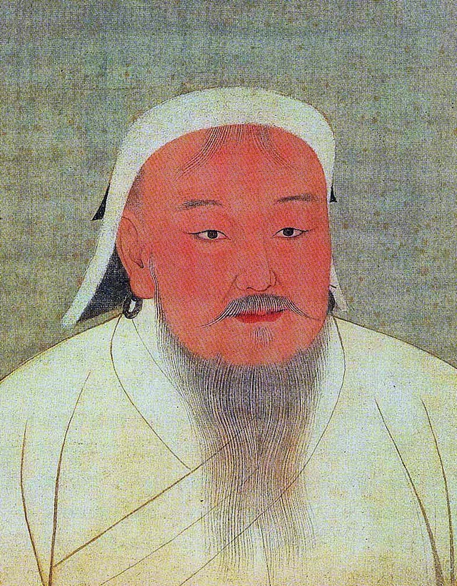 Taizu, better known as Genghis Khan. Portrait cropped out of a page from an album depicting several Yuan emperors (Yuandjai di banshenxiang), now located in the National Palace Museum in Taipei 14th century