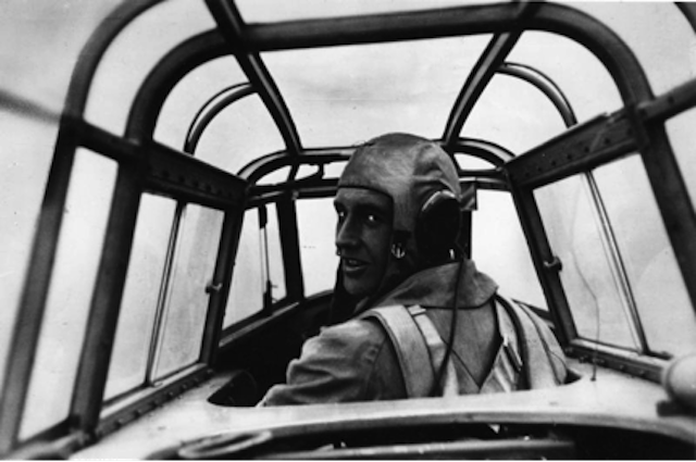 Benno Wundshammer's photograph of the pilot sitting in the cockpit of a Messerschmidt ME 110, May,1940  (Scherl Bilderdienst 4515)