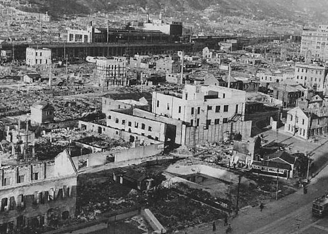 Destroyed buildings in Kobe after a firebombing attack on the city during World War II