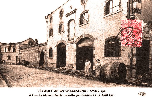 A burned Champagne House after the 1911 riots.