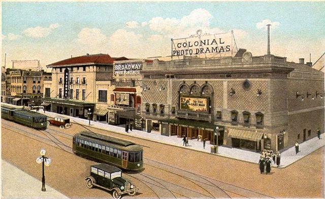 Postcard of electric trolley-powered streetcars in Richmond, Virginia, in 1923, two generations after Frank J. Sprague successfully demonstrated his new system on the hills in 1888. The intersection shown is at 8th & Broad Streets. Via Wikipedia.