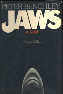 Cover of the first edition of the novel Jaws. Via Wikipedia