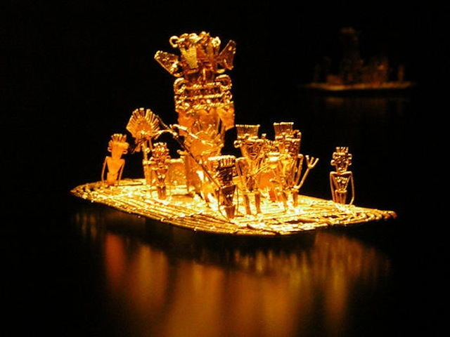 This old Muisca tradition became the origin of the El Dorado legend. This Balsa Muisca (Muisca raft) figure is on display in the Gold Museum, Bogotá, Colombia. Via Wikipedia.
