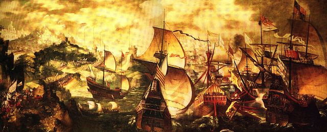 Elizabeth I and the Spanish Armada; the Apothecaries painting, sometimes attributed to Nicholas Hilliard. A stylised depiction of key elements of the Armada story: the alarm beacons, Queen Elizabeth at Tilbury, and the sea battle at Gravelines. Initially (and spuriously) dated to 1577, probably early 17th century. Via Wikipedia.