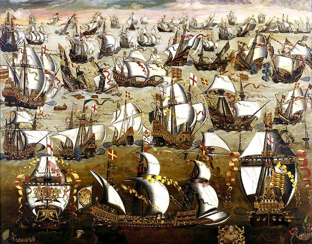 English ships and the Spanish Armada, August 1588. Unknown painter. Via Wikipedia.