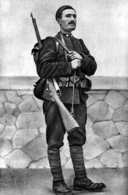 Benito Mussolini in 1917, as a soldier in World War I. In 1914, Mussolini founded the Fasci d'Azione Rivoluzionaria that he led. Via Wikipedia