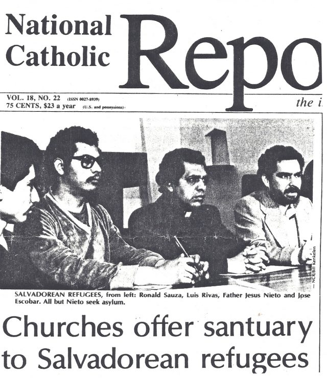 Press conference launching the Sanctuary Movement at University Lutheran Chapel in Berkeley, California. March 29, 1982. Photo courtesy of share-elsalvador.org.