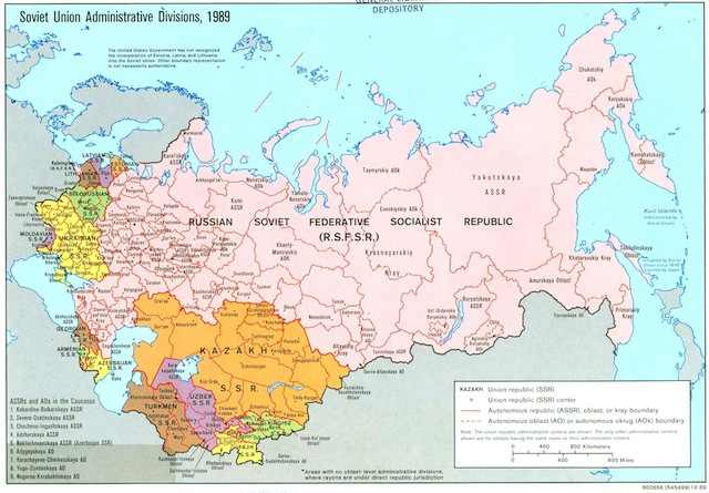 Map of Soviet Union - Administrative Divisions, 1989. Via Perry-Castañeda Library Map Collection, University of Texas Libraries.
