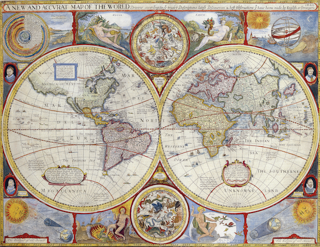'A New and Accvrat Map of the World' by John Speed 1626. The map was included in George Humble's the Prospect of the Most Famous Parts of the World, printed by John Dawson in 1627. Via Wikipedia.