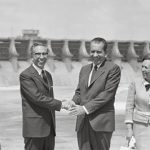 Original Caption: President Richard Nixon and Mexico's President Gustavo Diaz Ordaz shake hands at a ceremony on the Mexico side of the Rio Grande River 9/8 near Del Rio after they dedicated the Amistad Dam, in background.
