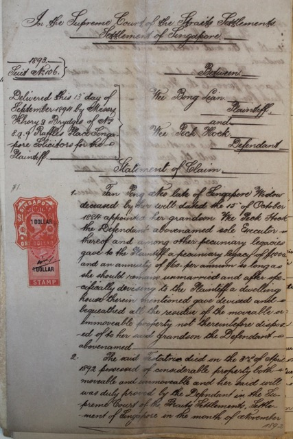 Statement of claim by a Chinese widow 1893 Koh Seow Chuan Collection National Library Singapore