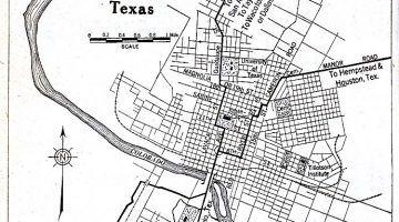 A black and white map of Austin, Texas focusing on the city's downtown area