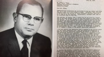 Black and white image of W. Page Keeton, Dean of the UT Law School, 1949-1974 next to an image of letter from Homer L. Bruce to Dean Keeton dated June 15, 1960