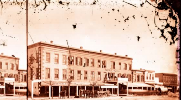 Black and white photograph of the Avenue Hotel
