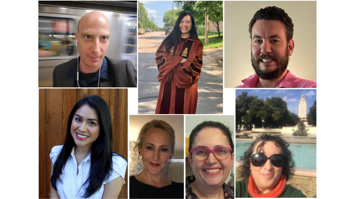 Collage of portraits of seven recent history phd graduates.