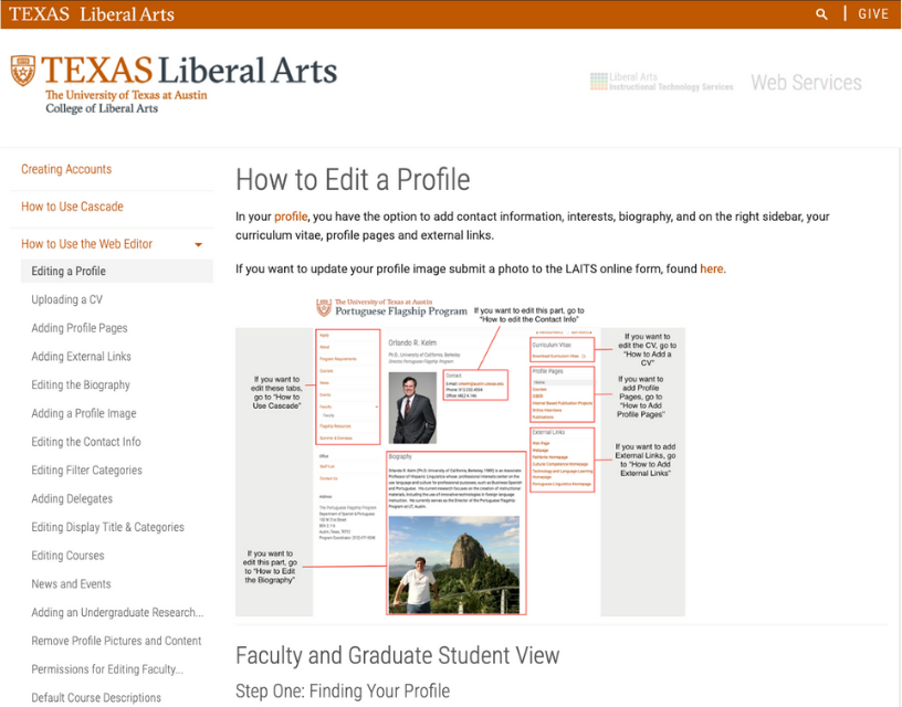 """Screenshot of the """"How to Edit a Profile"""" page from University of Texas at Austin's Web Services website"""
